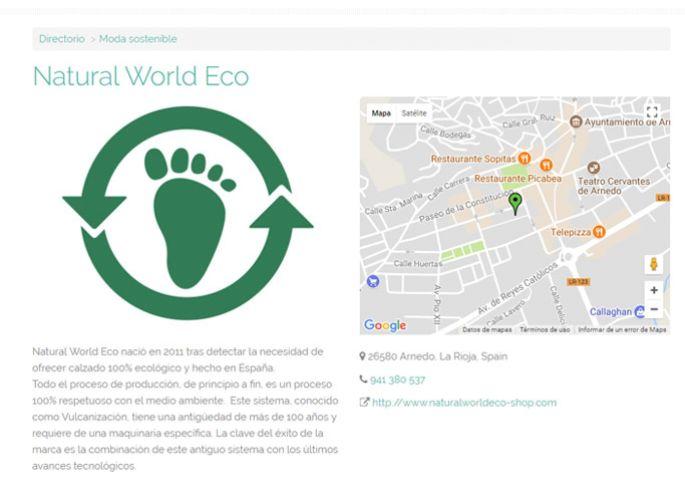 Ficha de Natural World Eco en el directorio de Ifeel Maps