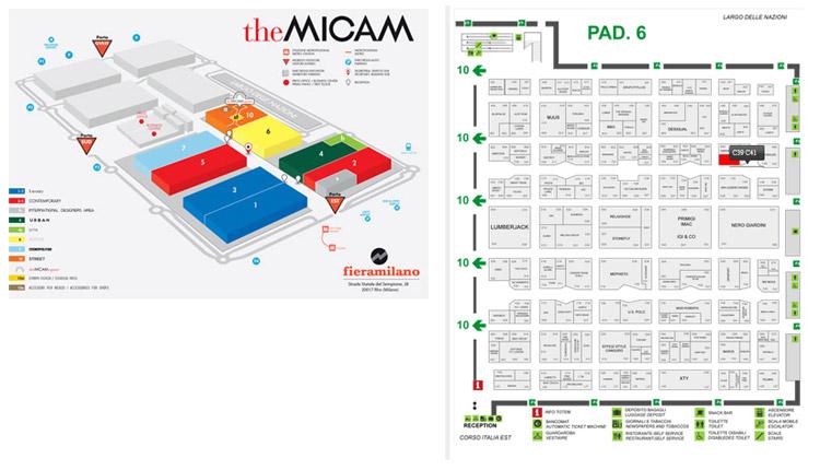 Mapa con todas las áreas y pabllones de la feria the Micam