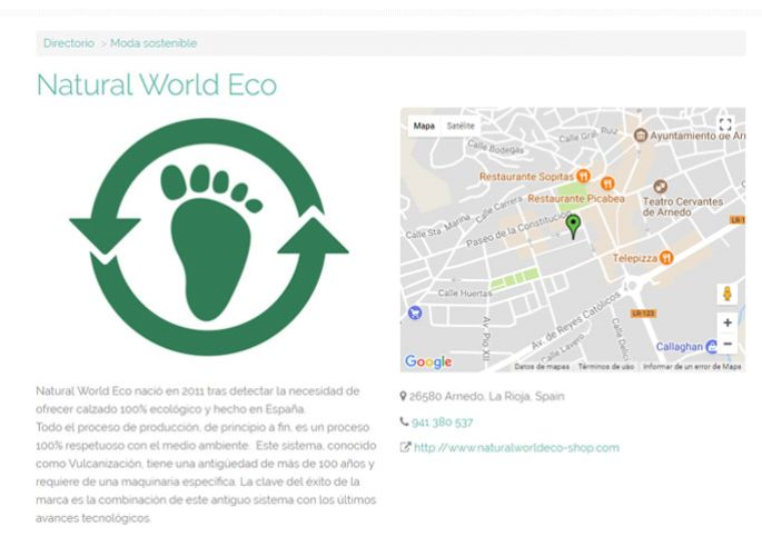 Ficha de Natural World Eco en el directorio de Ifeel Maps